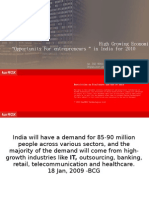 "High Growing Economic Sectors  ""Opportunity For entrepreneurs "" in India for 2010"