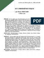 Thouard - Kant Et l'Herméneutique