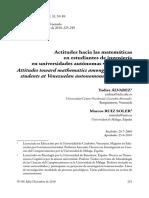 Actitudes Hacia Las Matematicas en Alumnos de Escuelas Particulares Venezolanas