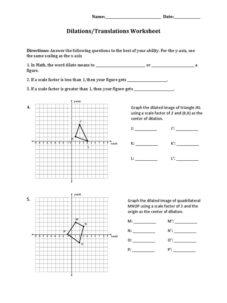 worksheet Translation Worksheet Answers dilations translations pdf cartesian coordinate system theoretical physics