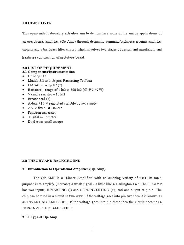 Full Report_E1 docx | Operational Amplifier | Amplifier