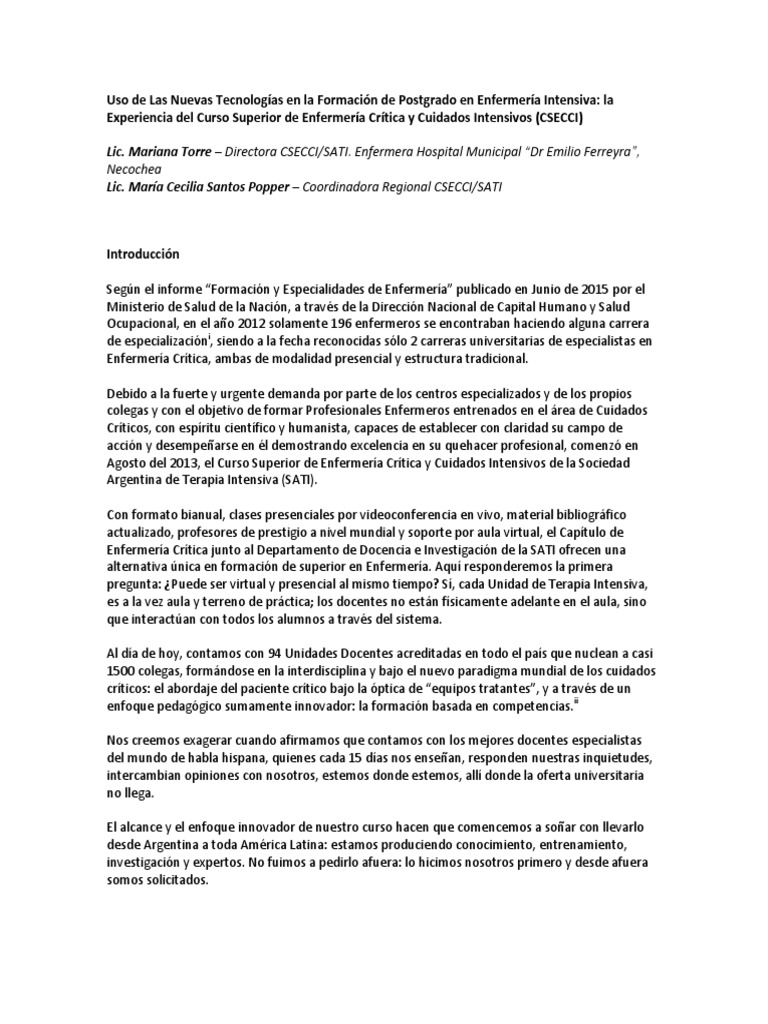 Uso de Las Nuevas Tecnologias en La Formacion de Postgrado en ...