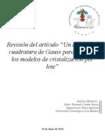 revision del articulo metodo de cuadratura de gauss
