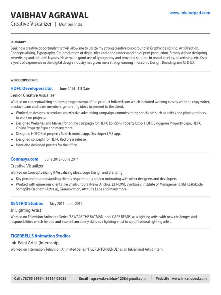 resume Visualizer Resume vaibhav agrawal creative visualizer resume graphic design adobe photoshop
