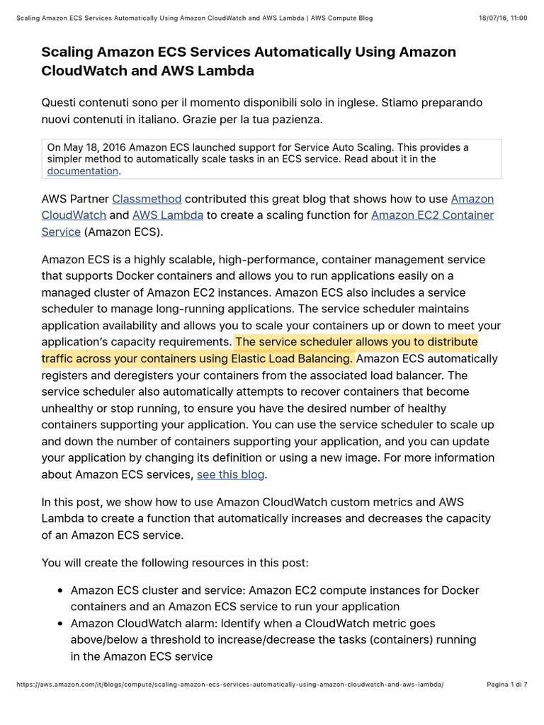 Scaling Amazon ECS Services Automatically Using Amazon