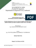 Uso Del Programa Cie-Agua Para El Diseño Optimizado de Redes de Drenaje Urbano. Redes Patrón Para Colombia.