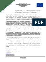 La Misión de observación electoral de la Unión Europea regresa a Perú para hacer entrega del informe final a las autoridades