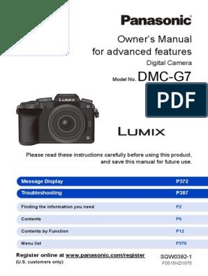Panasonic Lumix DMC-G7 - Owner's Manual [for Advanced