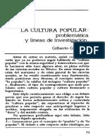 La Culturar Popular. Problematica y Lineas de Inv.
