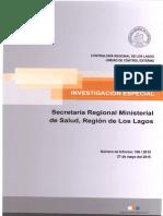 Informe Investigacion Especial 196-15 Seremi de Salud Sistema Abastecimiento Agua Isal Tac en Quemchi y Sector Yaldad en Quellon - Mayo 2015