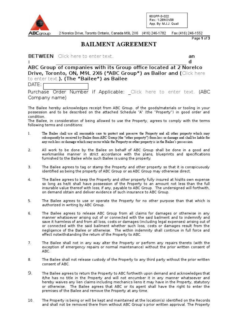 Bailment Agreement 80 Qpp D 022 Indemnity Business Law