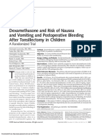 Dexamethasone and Risk of Nausea and Vomiting and Postoperative Bleeding After Tonsillectomy