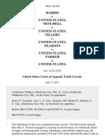 Harris v. United States. Mitchell v. United States. Tillery v. United States. Pearson v. United States. Parker v. United States, 190 F.2d 503, 10th Cir. (1951)