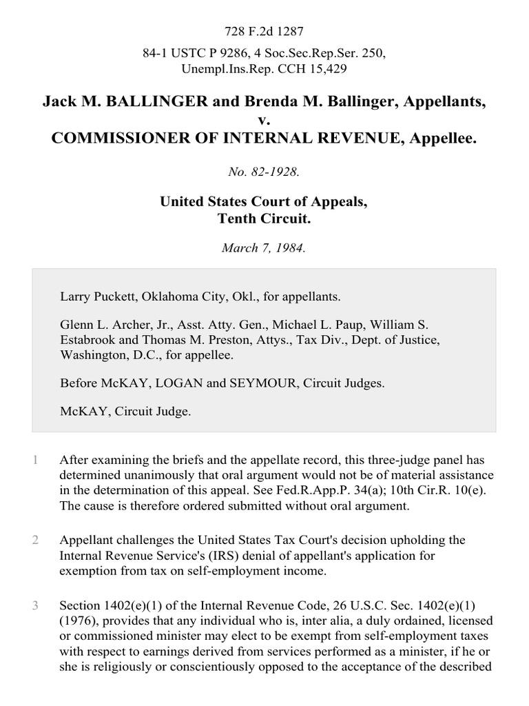 Jack M. Ballinger And Brenda M. Ballinger V. Commissioner