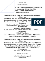 D&h Marketers, Inc., an Oklahoma Corporation, Joe Lee Investors, a Partnership, Delbert Lee, John Pinion, John L. Horne and David Fike v. Freedom Oil & Gas, Inc., an Oklahoma Corporation, Cherryvale Well Service, Inc., a Kansas Corporation, Co-Kan Oil & Gas, Inc., a Colorado Corporation, John R. Housel, Ron Curran, Tim Housel, Ken Darling, and Stan Karstetter, John Campbell, Wayne Moore, Larry Forshee, Harry Cunningham and James Bolt, D & H Petroleum Marketers, Inc., an Oklahoma Corporation, Joe Lee Investors, a Partnership, Delbert Lee, John Pinion, John L. Horne, and David Fike v. Freedom Oil & Gas, Inc., an Oklahoma Corporation, Cherryvale Well Service, Inc., a Kansas Corporation, Co-Kan Oil & Gas, Inc., a Colorado Corporation, John R. Housel, Ron Curran, Ken Darling, and Stan Karstetter, John Campbell, Wayne Moore, Larry Forshee, Harry Cunningham and James Bolt, 744 F.2d 1443, 10th Cir. (1984)
