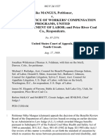 Mike Mangus v. Director, Office of Workers' Compensation Programs, United States Department of Labor and Price River Coal Co., 882 F.2d 1527, 10th Cir. (1989)