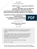 Bill's Coal Company, Inc., a Corporation William D. Patch Savanna Lee Patch Lloyd F. Burkdoll Anna Faye Burkdoll John E. Burkdoll Virginia L. Burkdoll, and All the General Partners of and D/B/A Cherokee Coal Company, a General Partnership, Plaintiff-Appellants/cross-Appellees v. Board of Public Utilities of Springfield, Missouri D/B/A City Utilities, and City of Springfield, Missouri, Defendants-Appellees/cross-Appellants, 887 F.2d 242, 10th Cir. (1989)