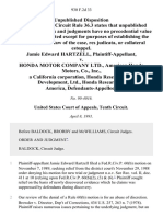Jamie Edward Hartzell v. Honda Motor Company Ltd., American Honda Motors, Co., Inc., a California Corporation, Honda Research and Development, Ltd., Honda Research of America, 930 F.2d 33, 10th Cir. (1991)