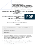 American Corrosion Control Corp., an Oklahoma Corporation v. Anixter Bros, Inc., a Delaware Corporation, and Madison Wire and Cable Corp., 931 F.2d 62, 10th Cir. (1991)