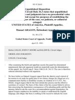 United States v. Manuel Aragon, 931 F.2d 63, 10th Cir. (1991)