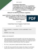 Richard Val Crews v. Jack Cowley, Warden, Robert H. Henry, Attorney General, State of Oklahoma, Gary Maynard, Director, Oklahoma Department of Corrections, 936 F.2d 582, 10th Cir. (1991)
