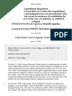 United States v. Leonard Dewaine White, 936 F.2d 584, 10th Cir. (1991)