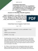 Jeanette M. Wilder v. John O. Marsh, Jr., Secretary of the Army, in His Official Capacity, Thomas J.P. Jones, Major General Commander, U.S. Army, Wsmr, in His Official Capacity, Department of the Army, and United States of America, 940 F.2d 1539, 10th Cir. (1991)