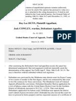 Roy Lee Dunn v. Jack Cowley, Warden, 958 F.2d 381, 10th Cir. (1992)