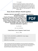 Danny Harold Ashton v. Creek County District Court, Oklahoma, Donald Thompson, Charles Woodson Creek County District Attorney, Lantz McLain Max Cook, Don Nelson, Mike Loefler Sapulpa Police Department, Bruce Duncan, Jim Walls, Gary Young Creek County Public Defender's Office, William Errickson, Frank Pacenza, David Ball, Nick Abel, Mary Bruel Charles Hammitt, 77 F.3d 492, 10th Cir. (1996)