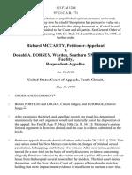 Richard McCarty v. Donald A. Dorsey, Warden, Southern Nm Correctional Facility, 113 F.3d 1246, 10th Cir. (1997)