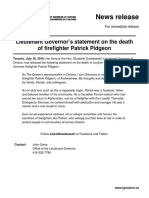 Lieutenant Governor's statement on the death of firefighter Patrick Pidgeon