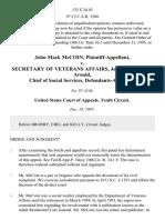 John Mack McCoin v. Secretary of Veterans Affairs, Jesse Brown Judy Arnold, Chief of Social Services, 132 F.3d 43, 10th Cir. (1997)