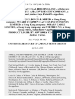 United International Holdings, Inc., a Delaware Corporation and Uih Asia Investment Company, a Colorado General Partnership v. The Wharf (Holdings) Limited, a Hong Kong Company Wharf Communications Investments Limited, a Hong Kong Company Wharf Cable Limited, a Hong Kong Company and Stephen Ng, a Hong Kong Citizen, Product Liability Advisory Council, Inc., Amicus Curiae, 210 F.3d 1207, 10th Cir. (2000)