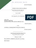 Linda Lee v. Universal Underwriters Insurance Company, 11th Cir. (2016)