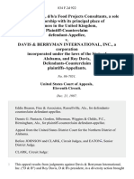 Mike Mercer, D/B/A Food Projects Consultants, a Sole Proprietorship With Its Principal Place of Business in the United Kingdom, Plaintiff-Counterclaim v. Davis & Berryman International, Inc., a Corporation Incorporated Under the Laws of the State of Alabama, and Roy Davis, Defendants-Counterclaim, 834 F.2d 922, 11th Cir. (1987)