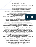 Save Our Dunes, the Alabama Conservancy, League of Women Voters of Mobile, Sierra Club and League of Women Voters of Baldwin County v. Alabama Department of Environmental Management, Leigh Pegues, Ind. And in His Official Capacity, Save Our Dunes, the Alabama Conservancy, League of Women Voters of Mobile, Sierra Club, and League of Women Voters of Baldwin County, Plaintiffs v. Alabama Department of Environmental Management, Alabama Environmental Management Commission, Dewey A. White, Jr., Ind. And in His Official Capacity, Thomas R. Debray, Ind. And in His Official Capacity, Claire B. Elliot, Ind. And in Her Official Capacity, Russell L. Riley, Ind. And in His Official Capacity, M. Cameron McDonald Ind. And in Her Official Capacity, J. Ernest Farnell, Ind. And in Her Official Capacity, Stanley L. Graves, Ind. And in His Official Capacity, Save Our Dunes, the Alabama Conservancy, League of Women Voters of Mobile, Sierra Club, and League of Women Voters of Baldwin County, Plaintiffs v. A