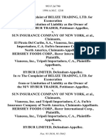 In Re the Complaint of Belize Trading, Ltd. For Exoneration From or Limitation of Liability as the Owner of the M/v Hybur Trader v. Sun Insurance Company of New York, El Pirata Del Caribe, S.A., Vianessa, Inc. And Tripoli Importadora, C.A. F/u/b/o Insurance Company of North America, Claimants-Appellants. Hershey Foods Corp., Rorer International Corp., Vianessa, Inc., Tripoli Importadora, C.A. v. Hybur Limited, in Re the Complaint of Belize Trading, Ltd. For Exoneration From or Limitation of Liability as the Owner of the M/v Hybur Trader v. Sun Insurance Company of New York, Vianessa, Inc. And Tripoli Importadora, C.A. F/u/b/o Insurance Company of North America, Claimants-Appellants. Hershey Foods Corp., Rorer International Corp., Vianessa, Inc., Tripoli Importadora, C.A. v. Hybur Limited, 993 F.2d 790, 11th Cir. (1993)