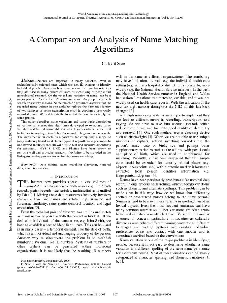 A Comparison and Analysis of Name Matching Algorithms   Accuracy And