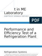 Performance and Efficiency Test of a Refrigeration Plant