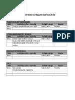 Agenda de Trabajo Del Programa de Especialización