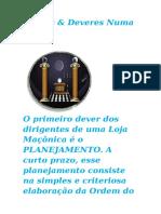 Cargos & Deveres Numa Loja Maçonica