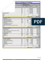 Construction Cost Estimate Worksheet