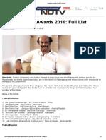 Padma Awards 2016_ Full List