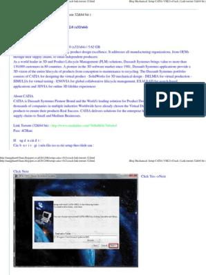 Setup CATIA V5R21+Crack ( Link torrent 32&64 bit