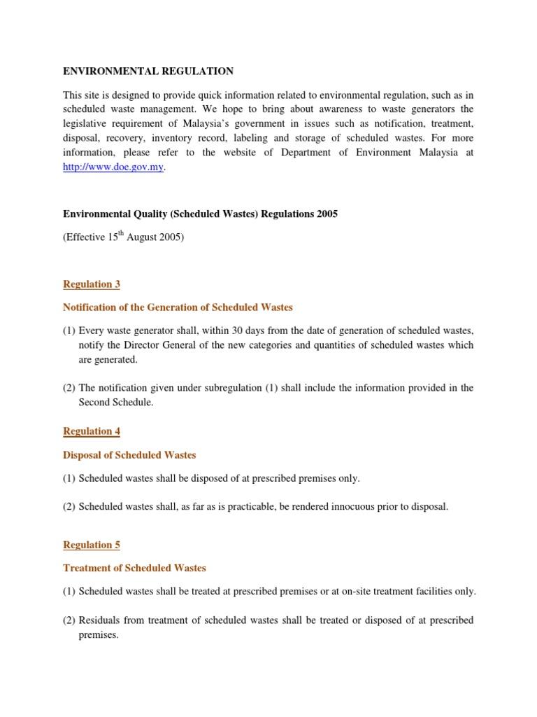 Attachmenttrgr 14g Environmental Quality Scheduled Wastes Regulation 2005 Waste Management Waste Free 30 Day Trial Scribd