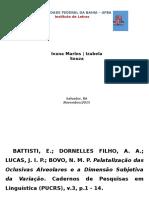 Palatalalização Oclusivas Alveolares (BATTISTI Et Atl)