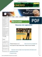 Resumen Del Reglamento Del Baloncesto