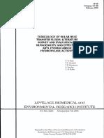 LF-62 Toxicology of Solar Heat Transfer Fluids - Literature