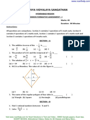 Cbse Sample Papers for Class 8 Mathematics FA 1 WITH