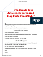 How to Create Free Articles, Reports, And Blog Posts That SELL!